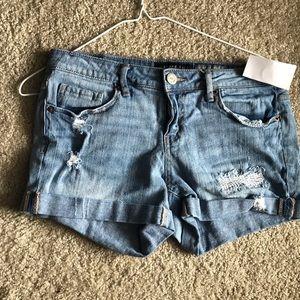 Distressed Midi Shorts